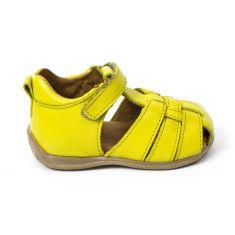 Froddo - Sandales cuir garçon jaune  à scratchs