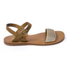 Sandale Plagette fille POM D'API BUCKLE TAO camel or glitter