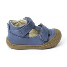 Naturino COCOON PUFFY Chaussures bébé ouvertes à double scratch premiers pas souple bleu céleste garçon en cuir