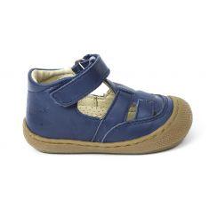 Naturino COCOON WAD Chaussures bébé ouvertes à scratch premiers pas souple bleu marine garçon en cuir