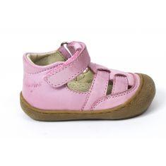 Naturino COCOON WAD rose Chaussures bébé ouvertes premiers pas souple fille en cuir