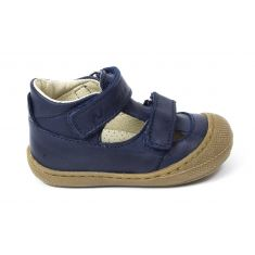 Naturino COCOON PUFFY Chaussures bébé ouvertes à double scratch premiers pas souple bleu marine garçon en cuir