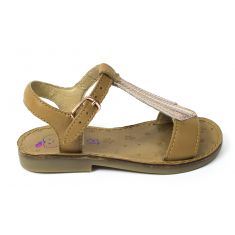 Sandales fille cuir SHOO POM HAPPY TIE camel doré