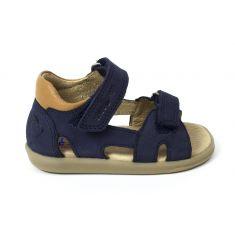 Sandales SHOO POM à scratch PIKA SHOO  nubuck kezaco bleu