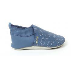 Bobux Chaussons garçon Bébé Soft Soles en cuir bleu motif dinosaure