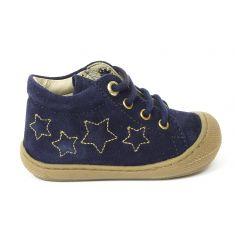 Bottines garçon Naturino KUBERT VELOUR bleu avec étoiles à lacets
