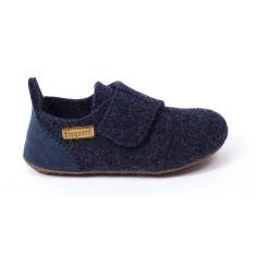 Bisgaard WOOL chausson en laine bébé garçon bleu à scratch