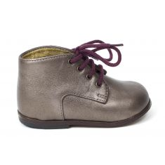 Clotaire bottines fille ZEUS DERBY or et rose à lacets