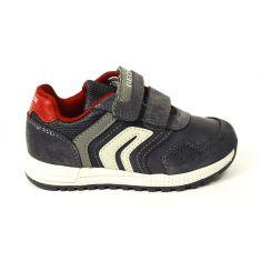 GEOX Sneakers Baskets B ALBEN BOY gris et rouge à scratchs