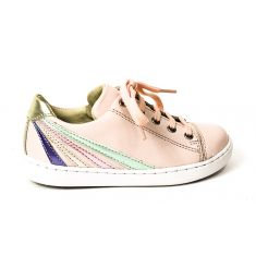 Sneakers SHOO POM à zip et lacets rose multi PLAY LO STRIPES rose nude