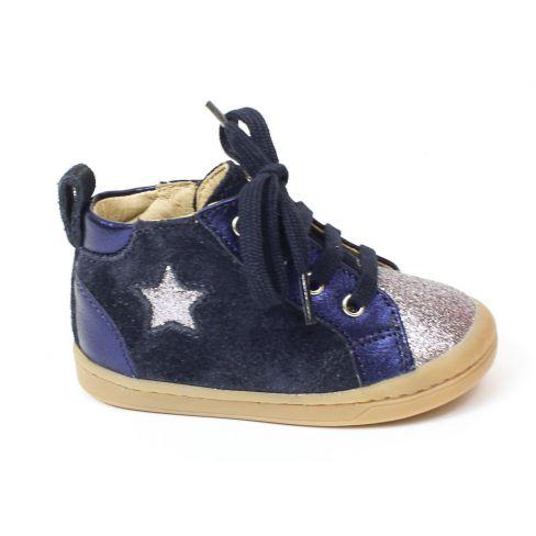 Bottines fille Shoo Pom KIKKI STAR teintes de bleu à fermeture éclair