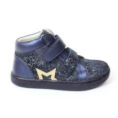KICKERS bottines fille Lilukro bleues pailletées et étoile dorée à scratch