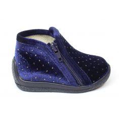 BELLAMY chaussons fille bleus à pois brillants et fermeture éclair
