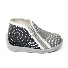 BELLAMY chaussons fille gris à motifs brillants et fermeture éclair