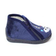 Bellamy chaussons garçon bleus avec fermeture éclair et motif