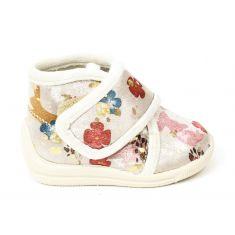 Bellamy chaussons fille beiges avec motifs colorés et scratch
