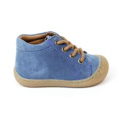 BELLAMY bottines souples garçon RAFA bleues à lacets bruns