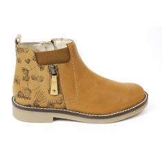 KICKERS bottines fille NYKKI camel à fermeture éclair