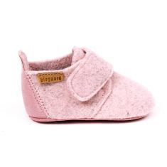 Bisgaard WOOL chausson en laine bébé rose à scratch