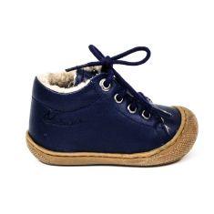 Naturino COCOON Chaussures bébé fourrées premiers pas souple garçon bleu marine à  lacet en cuir