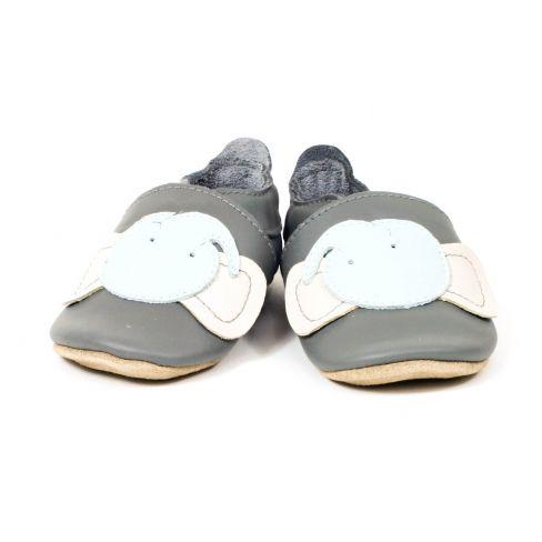 Bobux Chaussons garçon Bébé Soft Soles en cuir bleu motif éléphant