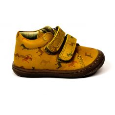 BELLAMY PRINCE baskets garçon zèbre jaunes à scratchs
