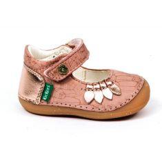 Kickers Smoothi sandales rose pour fille à scratch