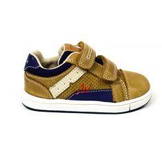 Baskets Geox TROTTOLA marron et bleues pour garçon