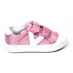 VICTORIA ROSA baskets rose en toile à scratchs pour fille