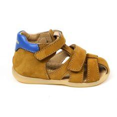 Babybotte sandales garçon en cuir à double scratch NK cuoi marron