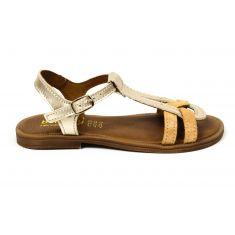 BELLAMY sandales fille Tilou à boucle camel et or