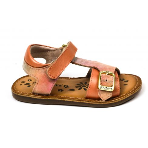 Kickers sandales fille Diaz rose à scratch