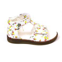 KICKERS GIUSTICIA sandales fille blanches à motifs et scratchs