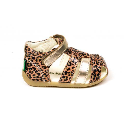 KICKERS sandales fille Bigflo 2 léopard à scratch