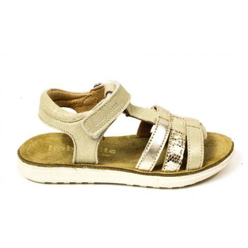 Babybotte Sandales or semelle blanche en cuir pour fille ALBA à scratchs
