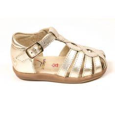 Sandales Shoo Pom Pika twist dorées à boucle pour fille