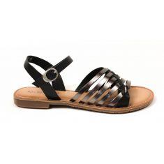 Kickers - Sandales pour fille à scratch noir ETCETERA