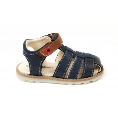 Nu-pieds Kickers Nonosti bleus à scratch pour garçon