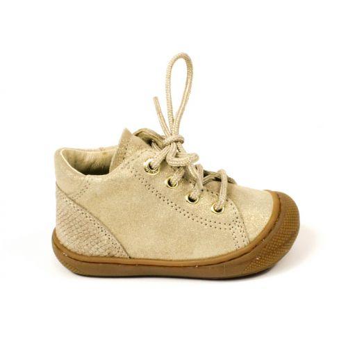 Naturino ROMY Chaussures bébé premiers pas souple fille en cuir or platine