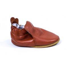 Bellamy chaussons bébé cuir souple BASIC avec semelle antidérapante camel