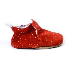 Bellamy chaussons bébé cuir souple CHIC avec semelle antidérapante couleur paprika pois