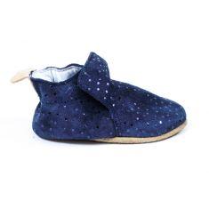 Bellamy chaussons bébé cuir souple CHIC avec semelle antidérapante marine pois