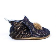 Bellamy chaussons bébé cuir souple POMPON avec semelle antidérapante marine doré