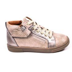 Chaussures enfant GBB - Bottines beige doré avec une fermeture et lacets VALA