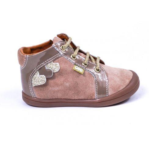 Chaussures enfant GBB - Bottines beige doré avec une fermeture et lacets PRUNE