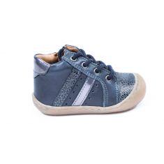 BELLAMY chaussures 1er pas souple bleu marine DOUVE avec lacet  imprimé léopard