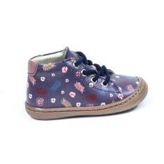 Chaussures souples Bellamy DESIGN à lacets imprimé feuillage violet