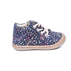 Chaussures souples Bellamy  POPI bubble à lacets imprimé fleurs bleu