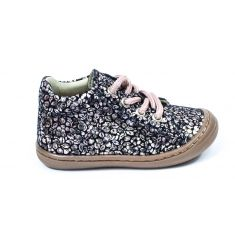 Chaussures souples Bellamy  POPI à lacets imprimé fleurs rose