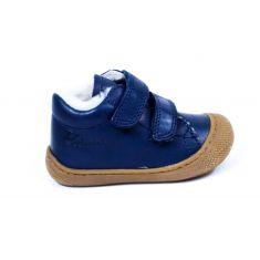 Naturino COCOON Chaussures bébé fourré 1er pas souple garçon bleu marine à scratch en cuir